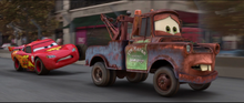 Lightning trying to stop Mater from getting away from him again