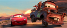 Lightning and Mater competing in the Radiator Springs Grand Prix