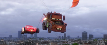 Lightning flying with Mater