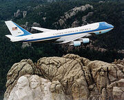 Air Force One over Mt. Rushmore