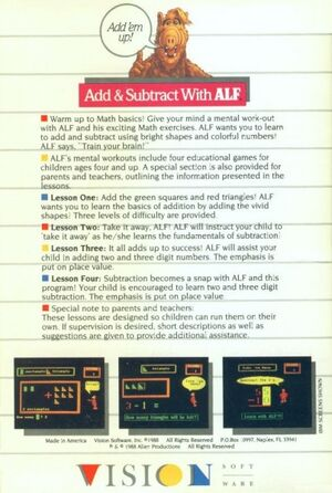 Add & Subtract with ALF - back cover-Apple