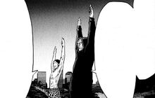 Kyuma and Isao doing radio calisthenics