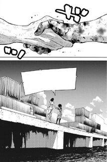 Arisu and Kyūma shaking hands