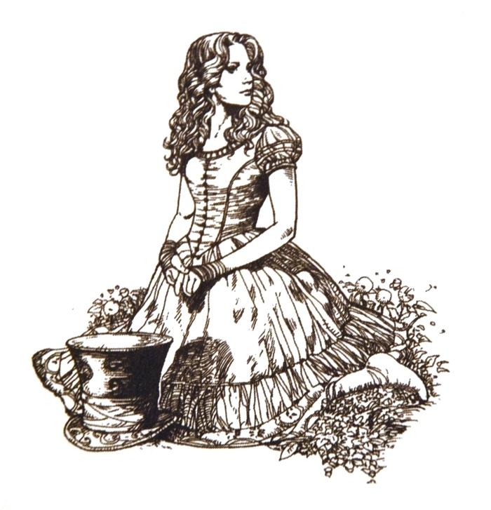 Alice in wonderland line drawings alice in wonderland 2010 10573742 700 727 jpg
