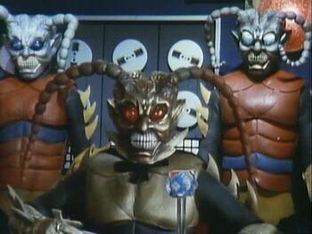 The Gold Garoga with two Silver Garoga behind him.