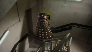 The Dalek shows its ability to fly