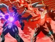 Mutant Helios y Mercury Dragonoid usando Ataque Ragnarock