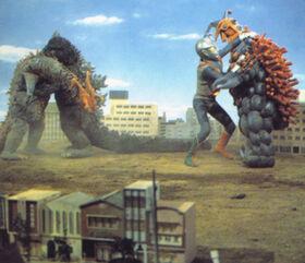 Godzilla and Zone Fighter take on Wargilgar and Splyer.