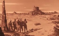 Rocketship xm humans see martian ruins in the distance 1950