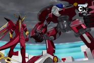 Fusion Dragonoid mirando a Dragonoid Destroyer