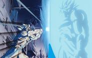 Goku atacando a Broly con un KameHameHa