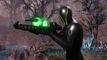 A Spectre armed with a plasma rifle