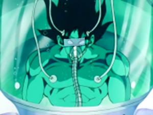 Bardock recuperandose en una capsula
