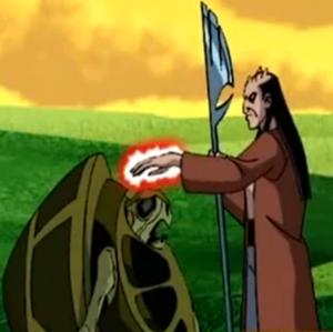 Aggregor con su Lanza absorbiendo los poderes de un amigo de Galapagus