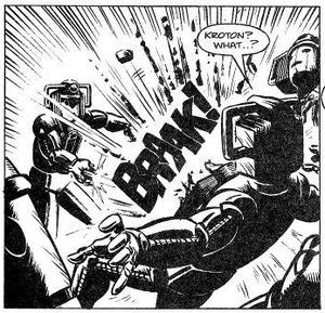 Kroton attacks the Cybermen with his cyber gun.