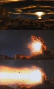 Gamera unleashes his Mana Blast.