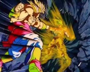 Goku detiene increíblemente el ataque de Broly