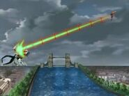 Mercury Dragonoid usando Revolucionario Relampago Afilado contra un clon de Titan Dreadeon