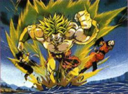 Broly luchando contra Goku, Gohan y Vegeta