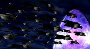 Muchas Naves de batalla Highbreed atrabesando un portal