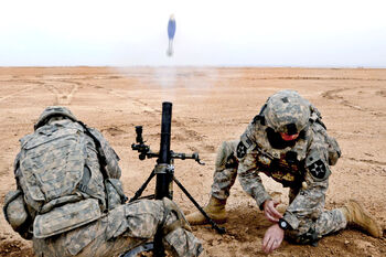 M224 mortar firing