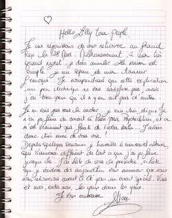 Alizée letter