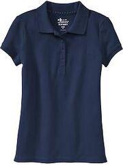 Girls Pique Uniform Polos Navy