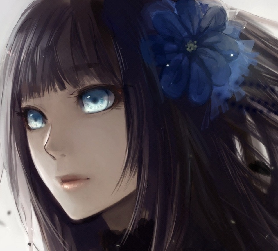 Tumblr static anime girl with black hair and blue eyes 1920x1080 jpg