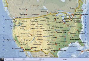 Карта Городов США