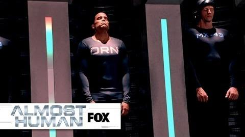 "Kennex Checks Out Dorian's Space from ""Blood Brothers"" ALMOST HUMAN FOX BROADCASTING"