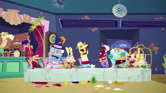 The Banana Cabana Crew having a feast