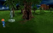Statue near tree