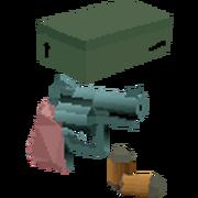 Shoebox and revolver