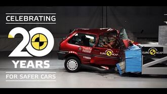 Euro NCAP crash testing an old Rover 100 and a recent Honda Jazz