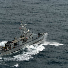 USS Typhoon (PC 5) patrols the waters off the cost of northern Oman.