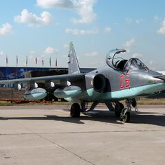 A mechanically inoperative replica Sukhoi Su-25SM at the emergent Voronezh Republic's celebration of the 200th anniversary of Russian Air Force in 2112.