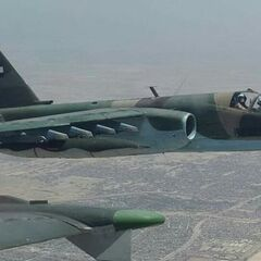 Iraqi Air Force Sukhoi Su-25 bomb ISIS forces near Mosul in 2021.