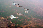 A Pair of Su-30K, Mirage 2000 and USAF F-15s during Cope India 2004