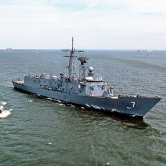 USS Oliver Hazard Perry (FFG-7) underway and heading out of Tacoma to help defend S. Korea.