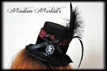 Madam Morbid Gothic Victorian Real Crow Skull Lace Mini Top Hat 3
