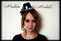 Madam Morbid Gothic Victorian Skeleton Lady Cameo Spider Pearl Lace Mini Top Hat