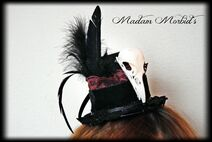 Madam Morbid Gothic Victorian Real Crow Skull Lace Mini Top Hat 4