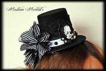 Madam Morbid Gothic Victorian Skeleton Lady Cameo Spider Pearl Lace Mini Top Hat 4