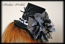 Madam Morbid Gothic Victorian Skeleton Lady Cameo Spider Pearl Lace Mini Top Hat 3
