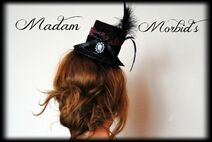 Madam Morbid Gothic Victorian Real Crow Skull Lace Mini Top Hat 2