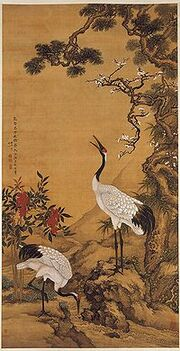 200px-Pine, Plum and Cranes