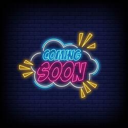 Coming Soon Blue Neon Vertical