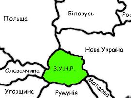 Карта ЗУНР (захід європи)