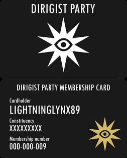 LightningLynx89 - Dirigist Party Membership Card