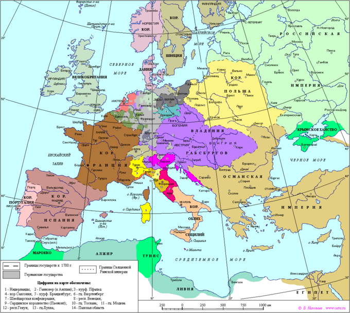 Map of Europe 1780
